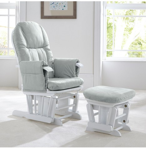 Tutti Bambini GC35 Reclining Glider Nursing Chair & Stool - White w/ Grey Cushion