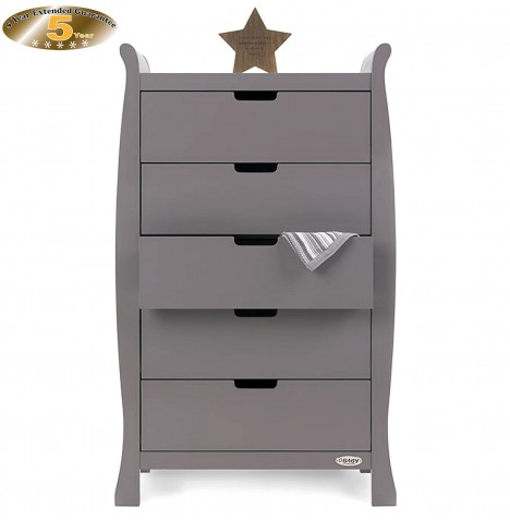 Obaby Stamford Tall Chest Of Drawers - Taupe Grey