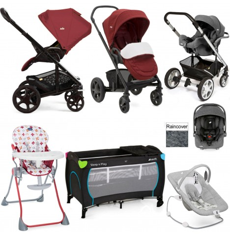 Joie Chrome DLX Everything You Need I-Gemm Travel System Bundle - Cranberry