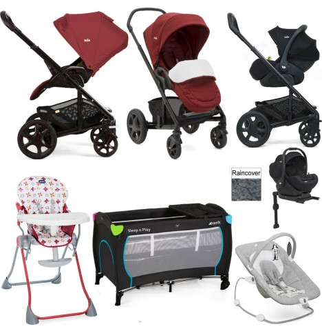 Joie Chrome DLX Everything You Need I-Level Travel System Bundle - Cranberry