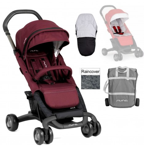 Nuna Pepp Luxx Pushchair + Accessories - Berry