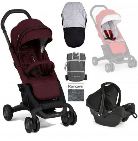 Nuna Pepp Luxx Travel System + Accessories - Berry