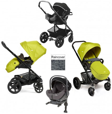 Joie Chrome Plus Black Frame I-Level Travel System (With Colour Pack) - Green