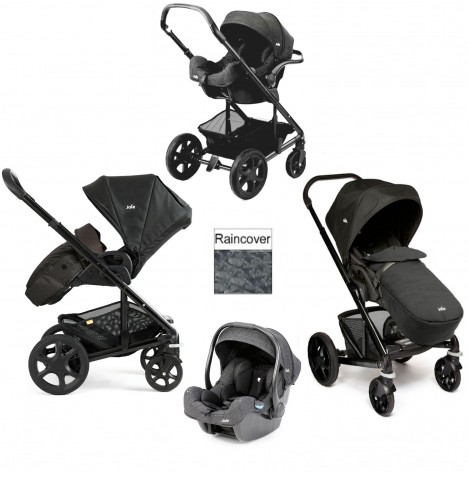 Joie Chrome Plus Black Frame I-Gemm Travel System (With Colour Pack) - Black Carbon
