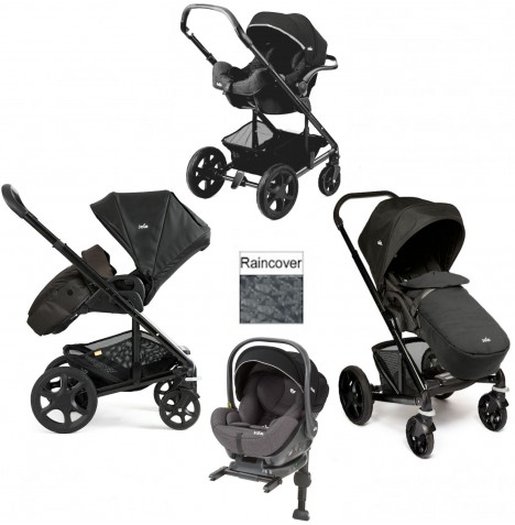 Joie Chrome Plus Black Frame I-Level Travel System (With Colour Pack) - Black Carbon