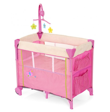 Hauck Dream n Care Center Bassinette Travel Cot - Butterfly Pink