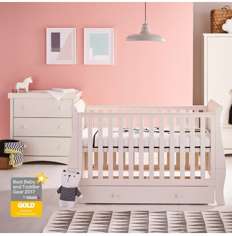 Mee-Go Oslo Cot Bed With Drawer + Sprung Mattress & Dresser - Ivory White