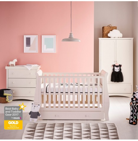 Mee-Go Oslo Cot Bed With Drawer + Sprung Mattress + Dresser & Wardrobe - Ivory White