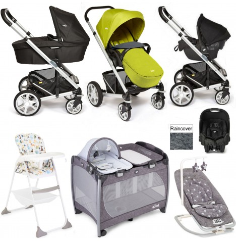 Joie Chrome Plus Everything You Need Gemm Travel System (With Carrycot) Bundle - Green..
