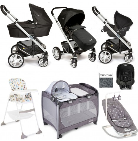Joie Chrome Plus Everything You Need Gemm Travel System (With Carrycot) Bundle - Black Carbon..