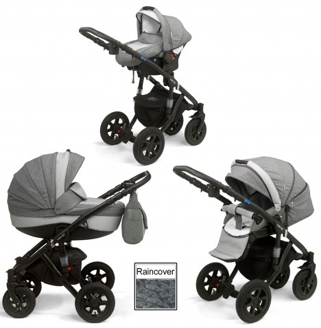 Mee-Go Milano Sport Travel System (Black Chassis) & Carrycot - Dove Grey