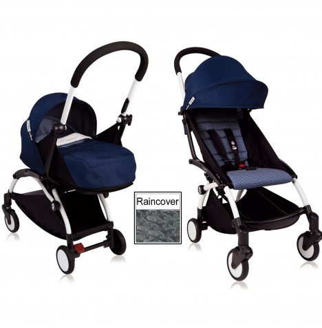 Babyzen YoYo+ 2 in 1 Pram / Pushchair Newborn Complete Package - White / Air France Blue