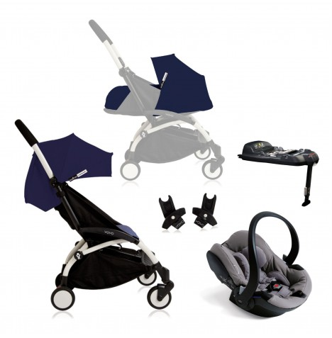 Babyzen Yoyo+ (White Chassis) Newborn Travel System - Air France Blue / Grey