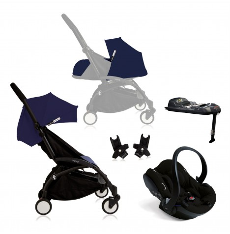 Babyzen Yoyo+ (Black Chassis) Newborn Travel System - Air France Blue / Black