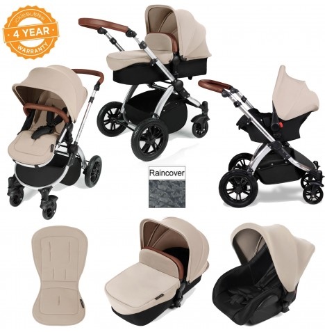 ickle bubba Stomp V2 Silver 3 in 1 Travel System - Sand