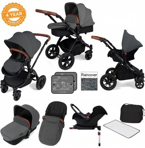Ickle bubba Stomp V3 Black All In One Travel System & Isofix Base - Graphite Grey