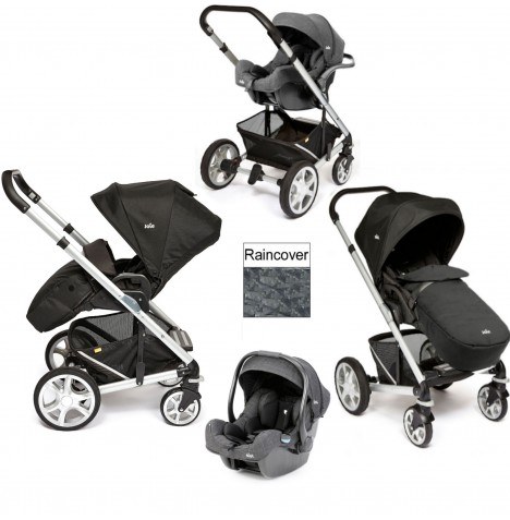Joie Chrome Plus Silver Frame I-Gemm Travel System (With Colour Pack) - Black Carbon