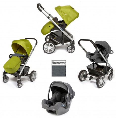 Joie Chrome Plus Silver Frame I-Gemm Travel System (With Colour Pack) - Green
