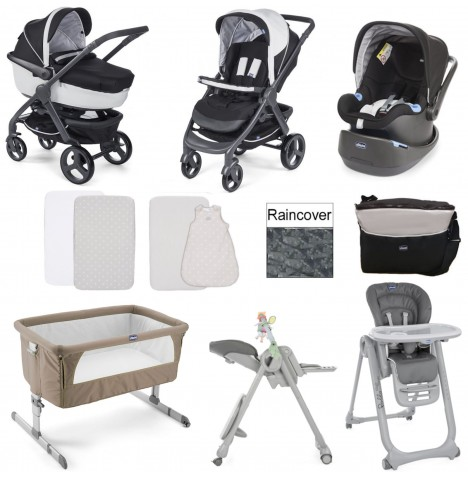 Chicco Trio StyleGo Everything You Need 12 Piece Travel System Bundle - Dove Grey