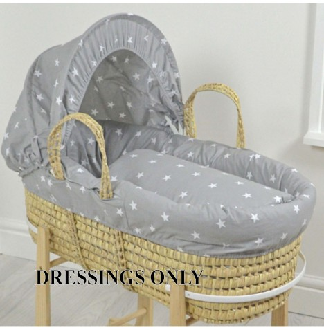 4baby Palm Moses Basket 3 Piece Dressing Set - Grey / White Stars..