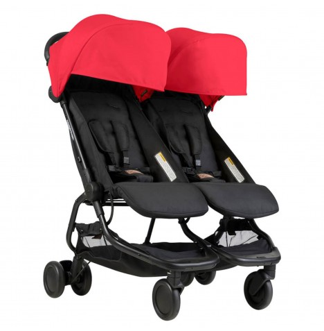 Mountain Buggy Nano Duo Twin Pushchair Stroller - Ruby