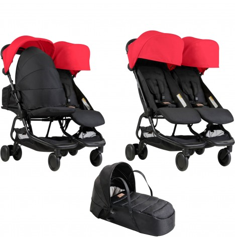 Mountain Buggy Nano Duo Twin Pushchair & Cocoon Carrycot - Ruby