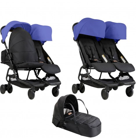 Mountain Buggy Nano Duo Twin Pushchair & Cocoon Carrycot - Nautical