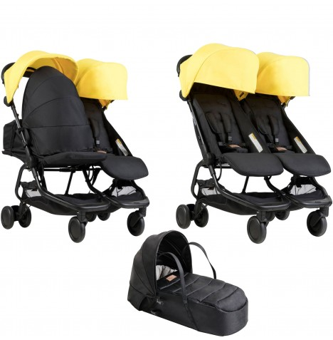 Mountain Buggy Nano Duo Twin Pushchair & Cocoon Carrycot - Cyber