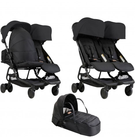 Mountain Buggy Nano Duo Twin Pushchair & Cocoon Carrycot - Black