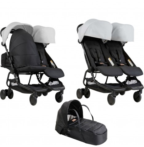 Mountain Buggy Nano Duo Twin Pushchair & Cocoon Carrycot - Silver