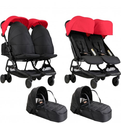 Mountain Buggy Nano Duo Twin Pushchair & x2 Cocoon Carrycots - Ruby