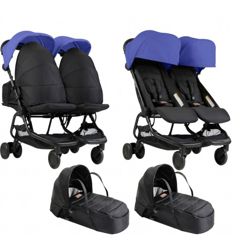 Mountain Buggy Nano Duo Twin Pushchair & x2 Cocoon Carrycots - Nautical