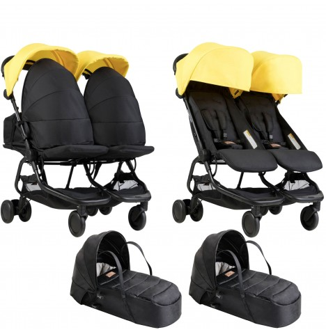 Mountain Buggy Nano Duo Twin Pushchair & x2 Cocoon Carrycots - Cyber