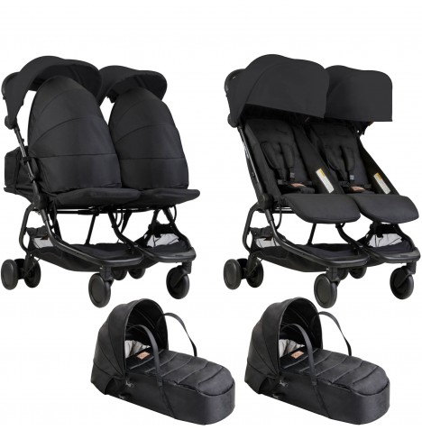 Mountain Buggy Nano Duo Twin Pushchair & x2 Cocoon Carrycots - Black
