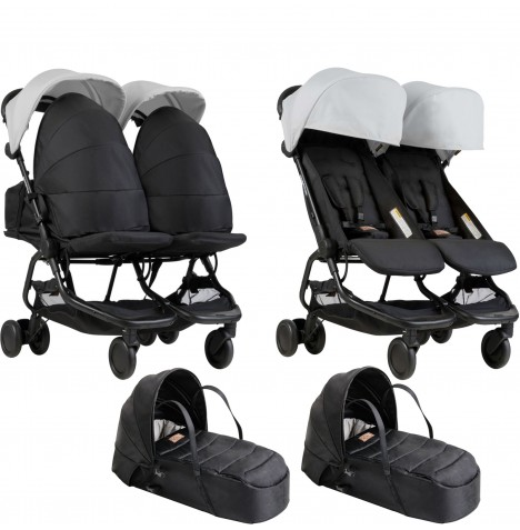 Mountain Buggy Nano Duo Twin Pushchair & x2 Cocoon Carrycots - Silver