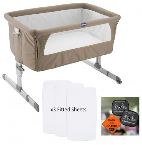 Chicco Next2Me Crib With 3 Fitted Sheets & Auto Pack - Dove Grey..