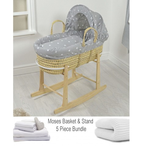 4baby Deluxe 5 Piece Palm Moses Basket Bundle - Grey / White Stars