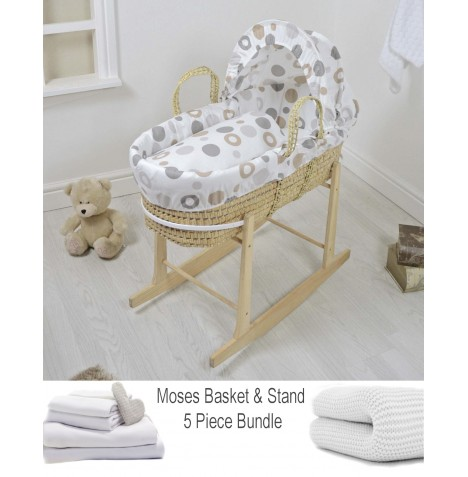 4baby Deluxe 5 Piece Palm Moses Basket Bundle - Grey Bubbles