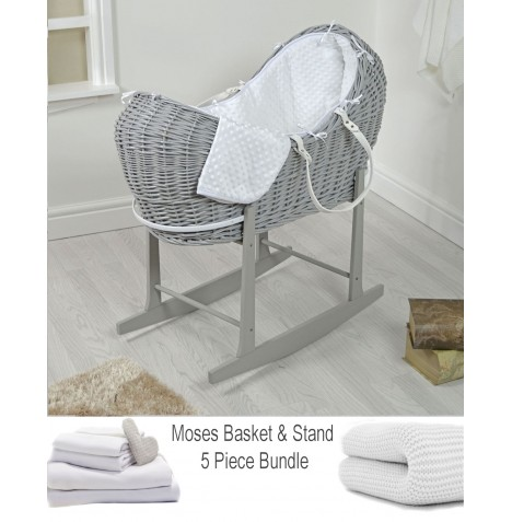 4baby Deluxe 5 Piece Grey Wicker Snooze Pod Bundle - White Dimple