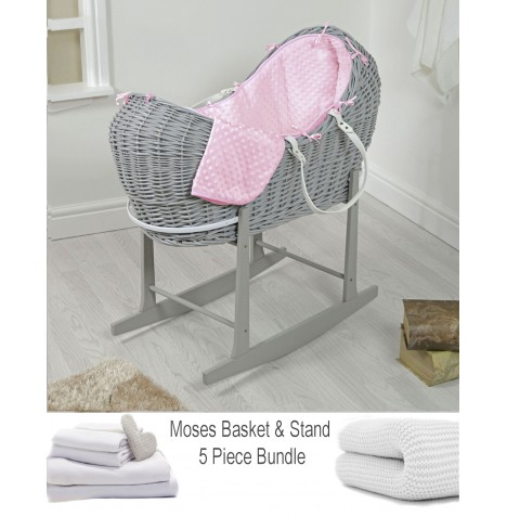 4baby Deluxe 5 Piece Grey Wicker Snooze Pod Bundle - Pink Dimple