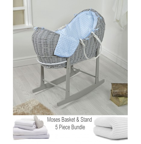 4baby Deluxe 5 Piece Grey Wicker Snooze Pod Bundle - Blue Dimple