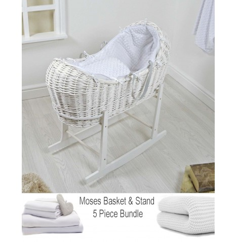 4baby Deluxe 5 Piece White Wicker Snooze Pod Bundle - White Dimple