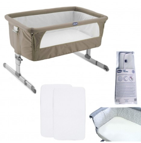 Chicco 4 Piece Next2Me Crib Bundle - Dove Grey