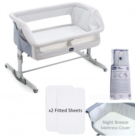 Chicco 4 Piece Next 2 Me Dream Crib Bundle - Delicacy Grey