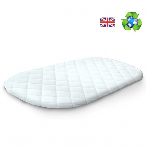 4Baby Deluxe Quilted Palm Moses Basket / Noah Pod / Snooze Pod Mattress 74 x 28 x 3cm