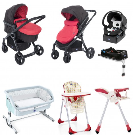 Chicco 8 Piece Urban Plus Everything You Need Travel System Bundle - Red Passion / Sunrise..