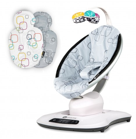 4moms mamaRoo 4.0 Rocker / Bouncer & Newborn Insert - Silver Plush