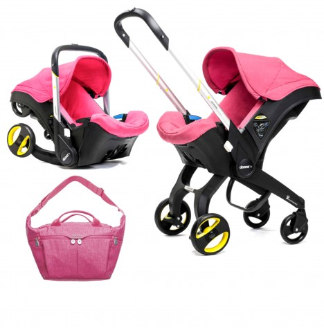 Doona Infant Car Seat / Stroller With Changing Bag - Sweet Pink