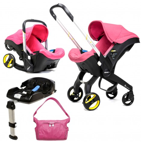 Doona Infant Car Seat / Stroller With Isofix Base & Changing Bag - Sweet Pink