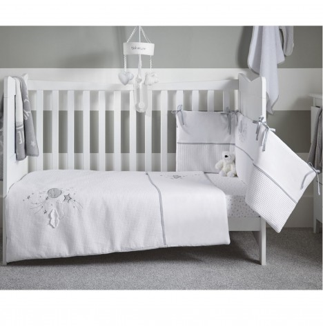 Clair De Lune Cot / Cot Bed Quilt & Bumper Set - Over The Moon Grey